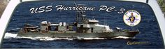 USS Hurricane PC-3 US Navy Patrol Boat Rear Window Graphic Mural.