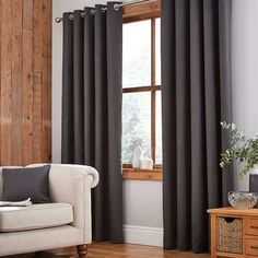 Jennings Charcoal Thermal Eyelet Curtains,Designed with an eyelet header this pair of Jennings curtains are fully lined, finished in deep charcoal grey with a woven textured effect, and availa. Living Room Blinds, Living Room Grey, Eyelet Curtains Design, Curtains Dunelm, Types Of Curtains, Thermal Curtains, Curtain Designs, Colorful Curtains