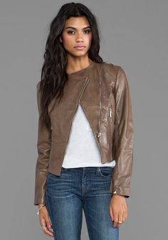 AB Leather Zipper Trim Biker Jacket in Taupe