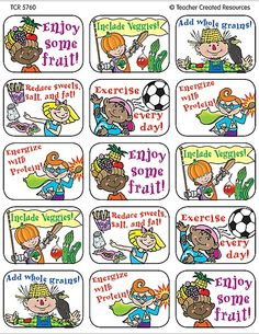 - Healthy Tips Jumbo Stickers, 90 self-adhesive jumbo stickers per pack. Approx 1 x Stickers are acid-free and lignin-free per Industry St. Healthy Tips For Kids, Healthy Living Tips, Dinners For Kids, Kids Meals, Hair Tips Aloe Vera, Healthy Habbits, Cheesy Recipes, Eat The Rainbow, How To Cook Steak