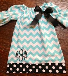 Aqua and Black Chevron Monogram Dress.. how adorable