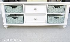 Coffee Table Face Lift... baskets, white table, & storage.
