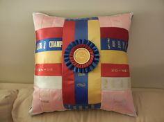 I'm so getting this done with my ribbons!!    Personalized Handmade Horse Show Ribbon Pillow  by pillowperfect23, $50.00