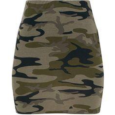 Khaki Camo Mini Skirt ($11) ❤ liked on Polyvore featuring skirts, mini skirts, short skirts, khaki skirt, camouflage skirts and brown skirt
