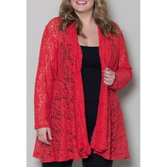 $11.83 Fashionable Lace Embroidered Plus Size Long Sleeve Cardigan For Women