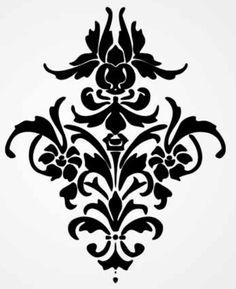 Simple Damask Cut Out Stencils Wall Stencil Patterns, Damask Stencil, Stencil Art, Stencil Designs, Stenciling, Baroque Pattern, How To Make Stencils, Custom Stencils, Scroll Saw Patterns