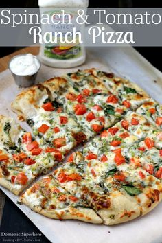 Spinach and Tomato Ranch Pizza! Perfect for summer tomatoes!!
