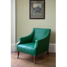An #antique Howard #Chair upholstered in @howe36bournest natural #Maroc goatskin leather in 'Malachite' #howelondon #FoundbyHowe #seating #interiors #greenfurniture