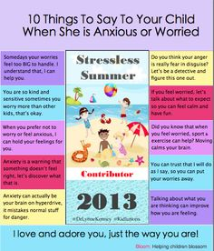 Kidlutions: 10 Things to Say to an Anxious Child