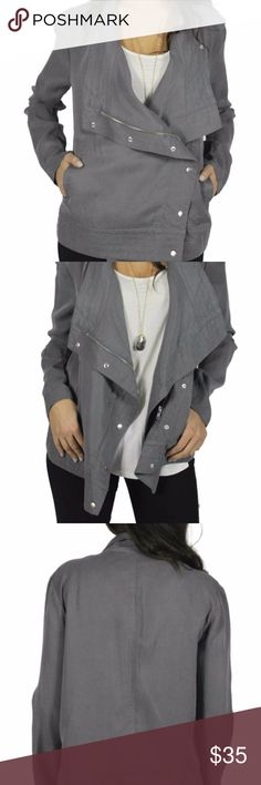 """BB Dakota Tencel Drape Jacket BB Dakota Tencel Drape Jacket Color gray like the first photo. Additional images are to show ways to style. Has a natural faded look to it. Asymmetrical zipper closure with snaps. Front pockets. Some minimal wear on the buttons. Jacket was originally bought from Le Tote. There is an ID on the back of the tag. It is not visible. Some wear at the armpit, could easily be fixed (see last photos) Measurements are approximate: Bust:17"""", Length: 25"""".  No trades. Price…"""