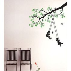Stickers kinderen schommelen in boom AMB-58091 : Versier uw huis met muurstickers en interieurstickers   Ambiance-live.com