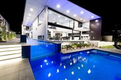 Bribie Contemporary by Robin Payne Building Design - MyHouseIdea Beautiful Buildings, Beautiful Architecture, Swimming Pool Lights, Swimming Pool House, Swimming Pools, Patios, Modern Farmhouse, Exterior, Rooftop Pool