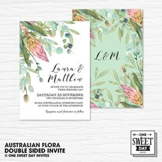 Wedding Invitation Printable, Australian, Native Flowers, Eucalyptus Leaves, Protea, Nature, Spring Wedding by OneSweetDayInvites on Etsy