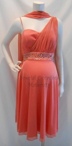 Coral Maternity Dress One Shoulder. #Dress $65.99    I know this is a maternity dress but oh my gosh this would be awesome for prom....