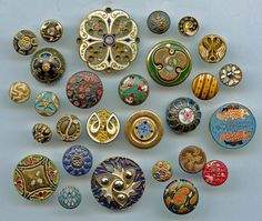SOLD: 28 Antique and vintage enamel and faux (painted) enamel buttons