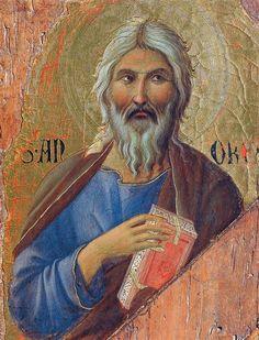 Duccio di Buoninsegna - Maestà, particolare Apostolo Andrea - 1308-1311 - Tempera e oro su tavola - Museo dell'Opera del Duomo, Siena
