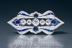 Add to wish-listShareFull ScreenContact usPrint Format  Previous ·Next ·Back To List  A spectacular Art Deco sapphire and diamond plaque brooch,set throughout with old European cut diamonds and calibré-cut sapphires.