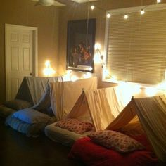 Camping party! Perfect for those cold, winter months. This would be so much fun on Christmas Eve. - Click image to find more Holidays & Events Pinterest pins