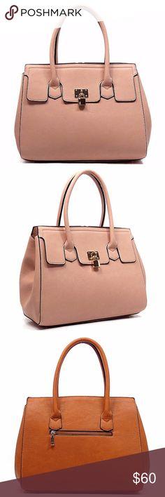 Womens Satchel Bag Pink Designer inspired handbag Faux vegan leather Zip top closure Gold-tone hardware Detachable shoulder strap L 14 * H 11 * W 5 (6 D) Pink  Weight (lbs.):3 Bags Satchels