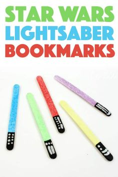 Lightsaber Bookmarks: easily make these Star Wars themed bookmarks! - Star Wars Bday - Ideas of Star Wars Bday - DIY Star Wars Lightsaber Bookmarks Craft Projects For Kids, Crafts For Teens, Diy For Kids, Activities For Kids, Star Wars Art Projects For Kids, Kids Crafts, Disney Crafts For Kids, Disney Activities, Craft Ideas