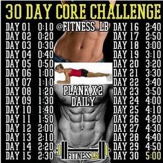 30 day core challenge!! Try it! You won't regret it!! #workout #abs