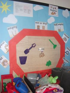 A set of colourful sand display posters, perfect for your sand area to reinforce key vocabulary. Fantastic for use with our other sand area display resources. Eyfs Activities, Nursery Activities, Interactive Activities, Infant Activities, Class Displays, Classroom Displays, Eyfs Classroom, Classroom Ideas, Bucket And Spade