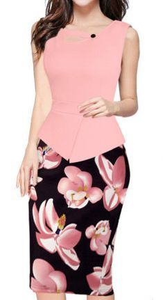 BAIMIL Womens Sleeveless Floral Stitching OL Commuter Pencil Business Dress Pink XXL ** Learn more by visiting the image link. Office Dresses, Day Dresses, Dresses For Work, Fabulous Dresses, Elegant Dresses, Elegant Clothing, Yellow Dress, Pink Dress, Bodycon Dress Parties