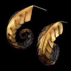"Judith Kinghorn - ""Koru"" earrings in sterling silver and 24k gold."