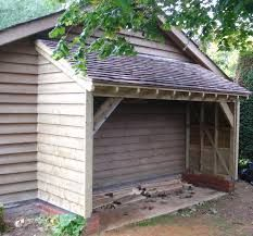 open wood shed against side of garage -- useful and attractive