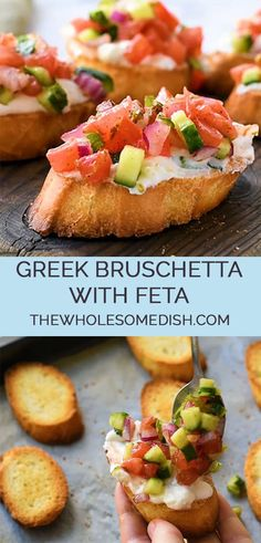 Greek Bruschetta With Feta – The Wholesome Dish Greek Bruschetta With Feta – This great appetizer recipe is toasted bread topped with a creamy feta spread and topped with crunchy veggies coated in Greek vinaigrette. Greek Appetizers, Appetizer Recipes, Good Appetizers, Dinner Recipes, Bruschetta, Tapas, Greek Vinaigrette, Greek Dinners, Gluten Free Puff Pastry