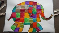 Elmer knutselen  Pachwork met gekleurd papier en lapjes stof.