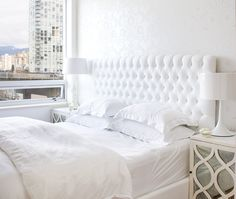 DIY Tufted Headboard & love the all white room
