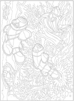 Creative Haven Sea Life Paint by Number by: George Toufexis - Dover Publications COLORING PAGE 2