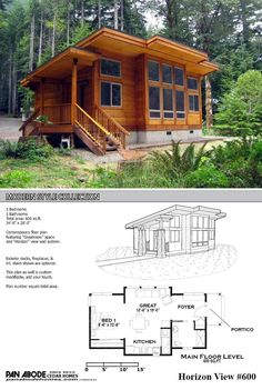 This great looking 600 sq. ft. home is a KIT!!! From Pan Adobe Cedar Homes. The photo is a slight variation of the plan that's shown.