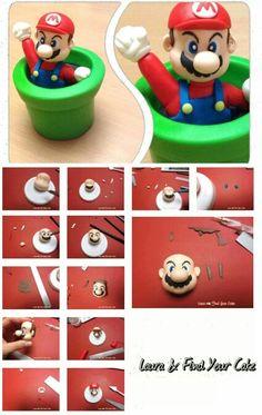 Mario bros Mario Birthday Cake, Super Mario Birthday, Super Mario Party, 6th Birthday Parties, Fondant Cupcakes, Fondant Toppers, Bolo Super Mario, Super Mario Bros, Cake Topper Tutorial