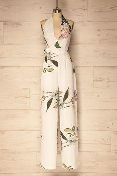 Ivory floral jumpsuit with plunging neckline - Combinaison ivoire à motif floral et décolleté plongeant