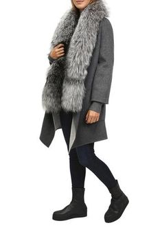 Anthracite Wool Coat With Cashmere And Fox Cardigan