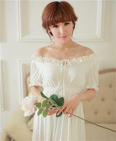 Free shipping Round Neck White long dress  elegant woman comfortable modal nightdress,ruffles ankle-length one piece vestidos