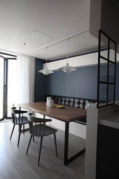 Kitchen Dinning, Dining Bench, Dining Room, Living Room Modern, Living Room Decor, Office Table, Home Interior Design, Kitchen Design, House