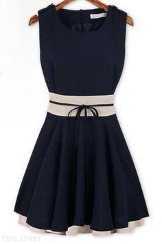 Falbala Hem Nipped Waists Sleeveless Dress | http://www.tidestore.com/product/Fashion-Assorted-Colors-Falbala-Hem-Nipped-Waists-Sleeveless-Dress-10923499.html?utm_source=facebook.com&utm_medium=tidestore&utm_term=&utm_campaign=20140418-9