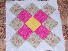 Starting with aninepatch square, sew an additional four pieces of fabric aligning them with the border. Make sure that each piece of fabric is centered along the border. You can eye ball it like Lori Holt does, or like me take the guess work out and simply fold the rectangle pieces and block in half, …