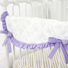 Create a vintage feel with our lovely damask baby bedding in gray and lavender - teething guard from Caden Lane
