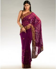 Magenta purple sari with embroidered floral patterns from Exclusively In....