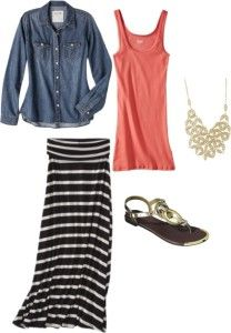 Maxi skirt outfit - denim shirt, bright tank top, sandals and statement necklace.  http://getyourprettyon.com/feel-good-friday-part-two/