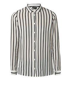 White Vertical Stripe Shirt  | New Look