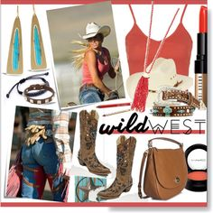 Wild West Style * Turquoise & Coral Outfit by calamity-jane-always on Polyvore featuring Topshop, Coach, Irene Neuwirth, T+C by Theodora & Callum, Valentino, Bobbi Brown Cosmetics, MAC Cosmetics, Urban Decay, Gorgeous Cosmetics and Nocona