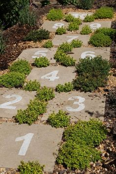 Hopscotch garden path … cute idea for getting children active outdoors @ Happy Learning Education Ideas. Pin It To Win It: https://docs.google.com/forms/d/1-p7ci16H2KQkNgoJ9Q8HDXW3UQkf-BML8qTUVCr5HOc/viewform