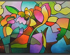 Large original abstract painting Commission by SallyTraceFineArt