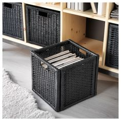 The handwoven rattan gives each basket a distinct and natural expression. This stable basket has many potential uses and is dimensioned for KALLAX shelving, giving it a unique look and function. Ikea Storage, Storage Hacks, Small Storage, Storage Boxes, Storage Ideas, Organization Ideas, Bookshelf Organization, Creative Storage, Kallax Shelf Unit