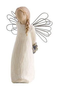 "$12.42-$14.00 Willow Tree Thank You Angel Figurine, Susan Lordi 26096 - Willow Tree Thank You Angel Figurine by Susan Lordi. 5"" high. Resin and metal. Gift boxed. Angel holding a bouquet of flowers behind her back. ""Appreciating your kindness!""  Since 2000, Susan Lordi has been creating these figurative sculptures that speak in quiet ways of deep emotion and inspiration.  Artist Susan Lordi carve ..."